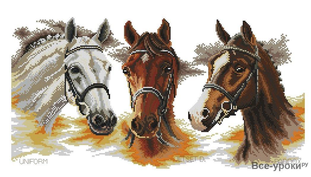 Схема вышивка две лошади